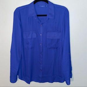 Apt 9 Sheer Button Down Blouse Royal Blue Large